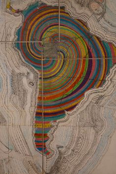 Map of Latin America - Juan Downey Map Globe, Map Art, South America, Latin America Map, Color Splash, Illustration, Origami, Art Photography, Drawings