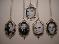 Addams Family Halloween Necklaces with Vintage photos of Morticia, Gomez, Lurch, Uncle Fester and Wednesday by KimsWhimsies on Etsy