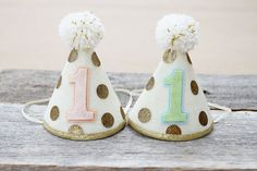Girl Boy Twins First Birthday Small Party Hats - 1st Birthday Gold Dot Hat  - Cake Smash