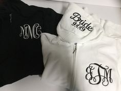 Monogrammed bridesmaid hoodies, gifts for bridesmaid embroidered personalized Monogram Hoodie, Monogram Initials, Teacher Tote Bags, Teacher Appreciation Gifts, Full Zip Hoodie, Hoodies, Sweatshirts, Bridesmaid Gifts, Zip Ups