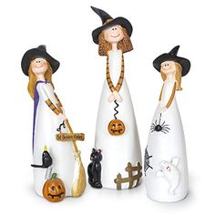 Besti Halloween Witch Decorations, 3 Piece Set, Cute Home and Party Holiday Decor and Fall Accents, Classic Witches Hats, Cat, Ghost, Crow, and Pumpkins, Ceramic Figurines Halloween Witch Decorations, Halloween Ornaments, Halloween Party Decor, Christmas Ornaments, Ghost Cat, Cat Decor, Collectible Figurines, Decorative Accessories, 3 Piece