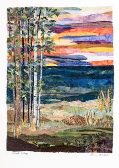 Sunset-Collage quilt by Ann Loveless = Another art quilt by the same quilter as the previous birch tree by lake quilt.