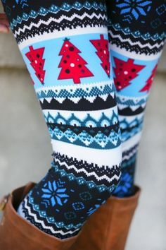 Trendy Women's High Waist Geometrical Print Christmas Leggings