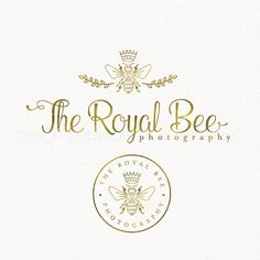 gold foil bee logo design photography logo by stylemesweetdesign