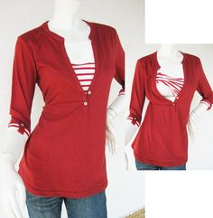 MACY Maternity Shirt/ Nursing Top Breastfeeding / Nursing Clothes NEW Original Design RED Pregnancy Clothes