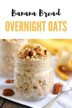 Low Carb Recipes To The Prism Weight Reduction Program Banana Bread Overnight Oats. Wake Up To Fresh Banana Bread, But Not Your Typical Banana Bread. Make These Overnight Oats Ahead Of Time And Breakfast Is Ready Right When You Wake Up # Baked Banana, Banana Bread, Banana Oats, Overnight Oats In A Jar, Overnight Breakfast, Overnight Oats Protein Powder, Overnight Oats Almond Milk, Low Calorie Overnight Oats, Weight Watcher Overnight Oats