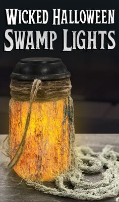 How to make easy DIY mason jar Halloween swamp lights. Solar powered, cheap and … How to make easy DIY mason jar Halloween swamp lights. Solar powered, cheap and quick way to get a spooky voodoo effect! Perfect Halloween prop for your home yard haunt. Voodoo Halloween, Pirate Halloween, Theme Halloween, Outdoor Halloween, Halloween Projects, Diy Halloween Decorations, Holidays Halloween, Spooky Halloween, Halloween Treats