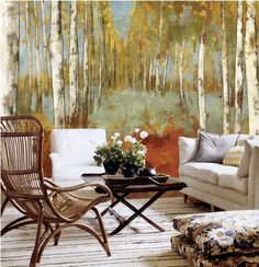 Autumn Forest Wallpaper Wall Decal Art Yellow Green by DreamyWall