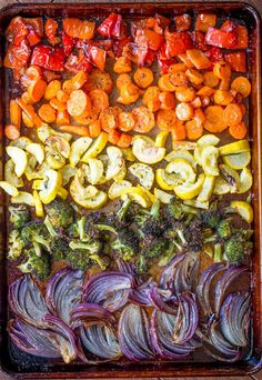 Rainbow Roasted Vegetables are the perfect way to enjoy eating healthy, colorful. Rainbow Roasted Vegetables are the perfect way to enjoy eating healthy, colorful vegetables for adults and kids! Makes a perfect side for quick meals . Veggie Recipes, Whole Food Recipes, Vegetarian Recipes, Dinner Recipes, Cooking Recipes, Healthy Recipes, Vegetarian Grilling, Healthy Grilling, Roasted Vegetable Recipes
