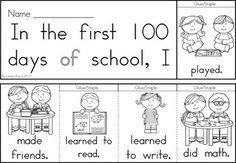100th Day of School Sight Word Flip Books and writing prompts