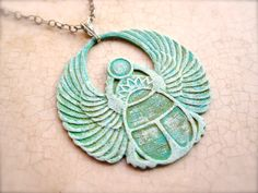 Scarab Necklace  Sterling SIlver  Egyptian  by PaganucciDesigns, $48.00