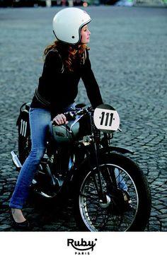 Pretty girl on a norton #biker #girl #ruby