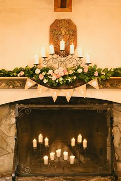 I want hundreds of candles too! « Romantic Pink and Peach Wedding at DeLille Cellars Wedding Mantle, Wedding Fireplace, Wedding Bells, Rustic Wedding, Wedding Flowers, Wiccan Wedding, Wedding Colors, Diy Wedding Decorations, Reception Decorations
