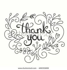 Thank you card. Hand drawn lettering design. Greeting card with flowers. Line…