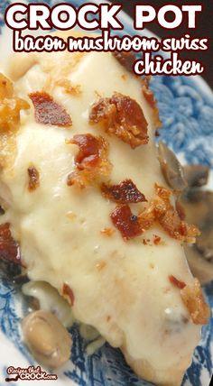 Crock Pot Desserts, Slow Cooker Desserts, Crockpot Dishes, Crockpot Recipes, Cooking Recipes, Easy Meat Recipes, Bacon Recipes, Chicken Recipes, Bacon Stuffed Mushrooms