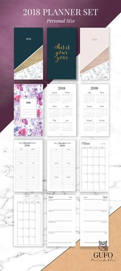 2018 Planner Printable - Agenda 2018, Weekly Planner, Filofax Personal Planner Pages, Monthly Calendar, Student Planner, Yearly Diary