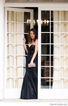 long-black-glitter-dress-and-a-bag