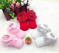 ND 1Pair Cotton Girls Newborn Baby Kids Soft Non-slip Lace Socks For 0-6 Month