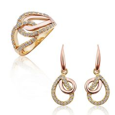 Qulity Rhinestone Crystal Hollow Stacked Waterdrop 2 Piece Jewellery Set Rose Gold (Ring and Earrings) | Bellast