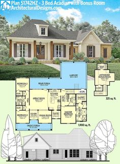 Architectural Designs Acadian House Plan 51742HZ gives you 1,900 square feet on the main floor and a bonus room giving you a 4th bedroom and 352 square feet ove