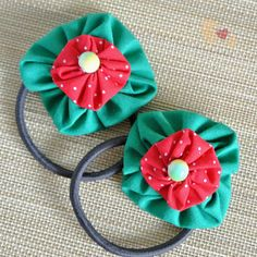Buy directly from the world's most awesome indie brands. Or open a free online store. Flower Hair, Flowers In Hair, Fabric Flowers, Christmas Colors, Red Christmas, Angel Crafts, Craft Shop, Green Cotton, Christmas Traditions