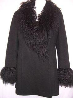 S by Searle Black Wool Jacket Faux Tibetan Lamb Trim 2