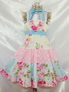 Girl Dress Size 5-6; Tany Ellie Halter; Handmade; Everyday Use; 100 % Cotton #Handmade #Everyday