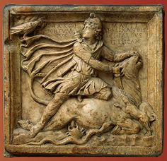 Mythra,God of sun and light,slaughtering a sacred bull.  2nd  century,marble  Hermitage Museum