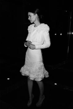 Rooney Mara at the premier of Side Effects wearing Alexander McQueen. #wedding #bride #bridal #shortwhitedress