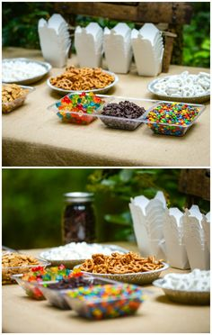 Summer Party Themes - Camping Party Trail Mix Bar rezepte selber machen mix mix bar mix bar wedding mix recipes mix recipes for kids Summer Party Themes, Kids Party Themes, Summer Parties, Party Ideas, Parties Kids, Parties Food, Camping Parties, Camping Theme, Party Food And Drinks