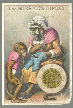 Victorian Trade Card for Merrick Thread with Monkey Mom and Monkey Little Boy