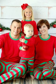 Christmas Pajamas Red Stripe Monogrammed by RedElephantClothing