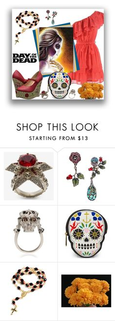 """Day of the Dead"" by letiperez-reall ❤ liked on Polyvore featuring Alexander McQueen, Betsey Johnson, Loungefly, Sevil Designs, Bettie Page, Dayofthedead, polyvoreeditorial, polyvorecontest and polyvorefashion"