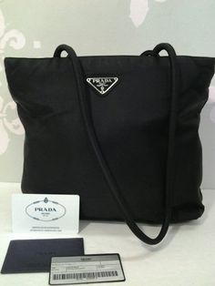 Authentic Prada Tessuto City Nero Shoulder Bag Handbag B7352  Very chic! Love this stain resistance shoulder bag.