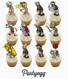 24 x Plants vs Zombies ZOMBIES ❤ STAND UP ❤ Cup Cake Toppers Edible Rice Wafer