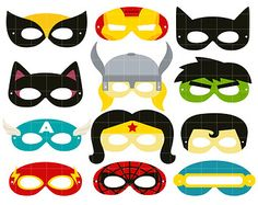 Superheroes Party Mask Digital Clip Art for Scrapbooking Card Making Cupcake Toppers Paper Crafts