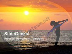 Evening On Seashore Beach PowerPoint Templates And PowerPoint Backgrounds 0311  #PowerPoint #Templates #Themes #Background