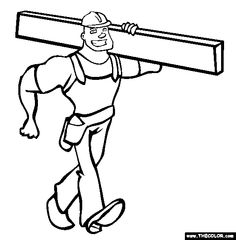 construction worker online coloring page