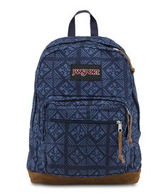 The new JanSport Blue Indigo Adire Right Pack backpack from the World Collection features a laptop sleeve and signature suede leather bottom Mochila Jansport, Jansport Backpack, Stylish Backpacks, Cute Backpacks, School Backpacks, Backpack Travel Bag, Backpack Purse, Laptop Backpack, Jansport Right Pack