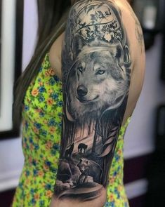 60 Amazing Wolf Tattoos - The Best You'll Ever See - Page 6 of 6 - Straight Blasted Wolf Tattoos For Women, Tattoos For Women Half Sleeve, Best Sleeve Tattoos, Wolf Pack Tattoo, Wolf Tattoo Shoulder, Wolf Tattoo Back, Wolf Sleeve, Wolf Tattoo Sleeve, Wolf Tattoo Design
