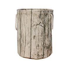Jacone Stylish Tree Stump Shape Design Storage Basket Cotton Fabric Washable Cylindric Laundry Hamper With Rope