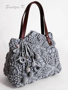 "Boho Bag Handmade ""Blues"" (crocheted boho-chic eco handbags buy)"