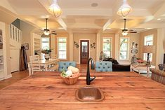 Southern Living Magazine, 2002 Coastal Living Cottage of the Year, House Plan 593, Moser Design, 20802 Pecan Bend Rd, Damon, Texas, Main house view from kitchen