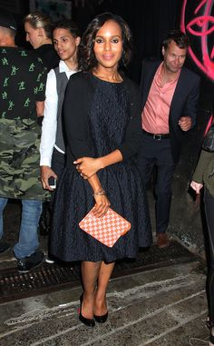 Kerry Washington was ladylike in a fit-and-flare dress and Louis Vuitton checkered clutch at the Jason Wu after party during New York Fashion Week.