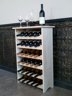 Wine Tasting Table--Holds 30 Bottles on Etsy, Wooden Wine Holder, Wood Wine Racks, Tasting Table, Wine Tasting, Barrel Projects, Pallet Projects, Wooden Pallets, Diy Home Decor, Sweet Home