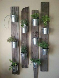 Rustic hanging herb garden