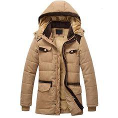 Men Winter Warm Jacket Hat Detachable Thick Coats Pockets Casual Style Long Jacket Plus Size Brand Clothing chaqueta hombre Long Winter Jacket, Mens Winter Coat, Winter Jackets, Winter Parka, Hooded Trench Coat, Hooded Coats, Women's Coats, Long Parka, Jeans