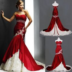 Free shipping New Taffeta and Lace Chapel Train Sweetheart Neckline White and Red Mermaid Wedding Dress for Bridal on AliExpress.com. $145.00