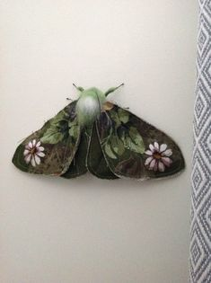 Wall mounted textile moth art doll, textile moth sculpture by Artisan Fibre available on etsy Sewing Box, Sewing Ideas, Sewing Patterns, Butterfly Art, Butterflies, Natural Form Art, Fibre Art, Fairy Dolls, Snails