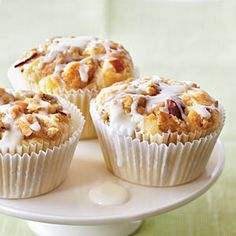 Amaretto Apple Streusel Cupcakes:   Top tender apple cupcakes with a sweet and crunchy topping of brown sugar and almonds, then drizzle with a powdered sugar glaze. The amaretto adds an even more distinct almond flavor to the cupcakes, but if you don't have it, you can use almond extract instead [click for recipe]